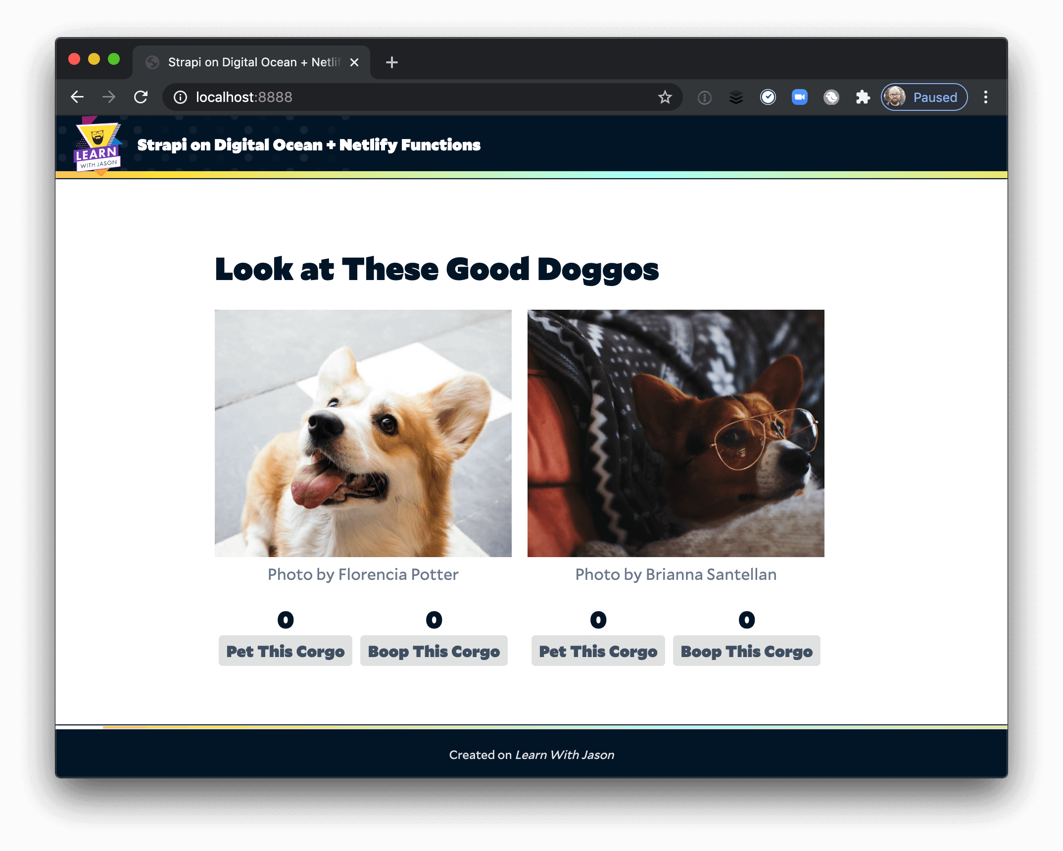 Corgi images displaying in the front-end with reaction counts and buttons.
