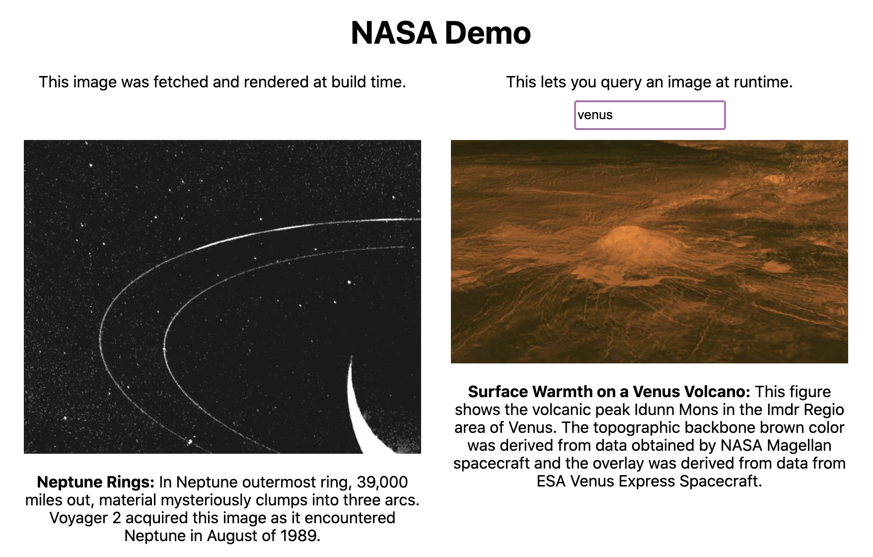 Preview demo site querying the NASA API, build time on the left, and runtime on the right