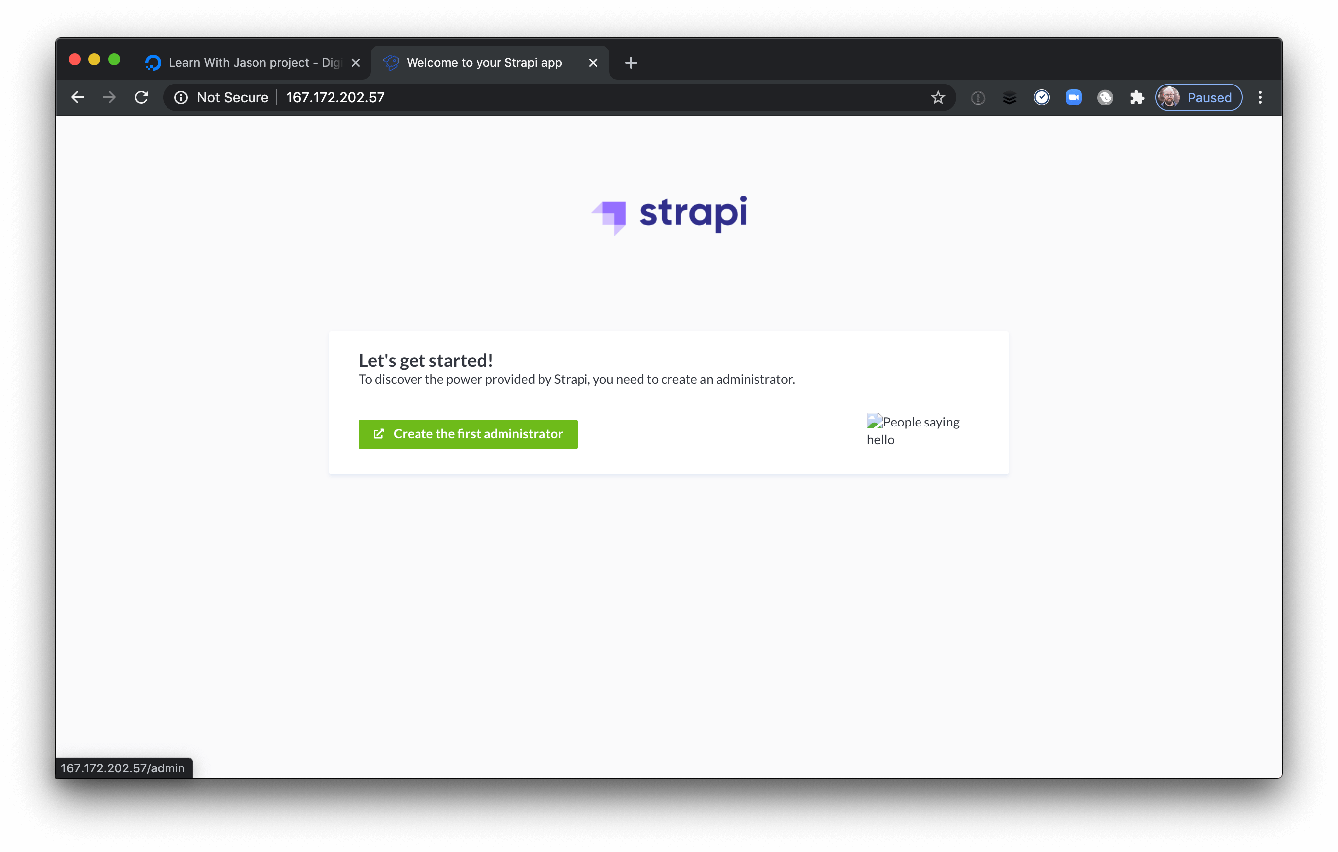 Strapi's getting started page.