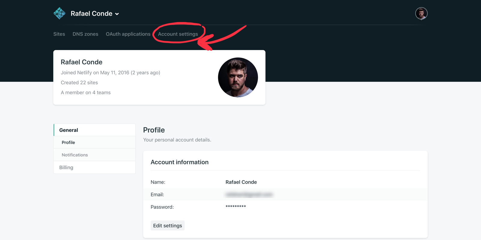 'Account settings' tab under the personal account selection