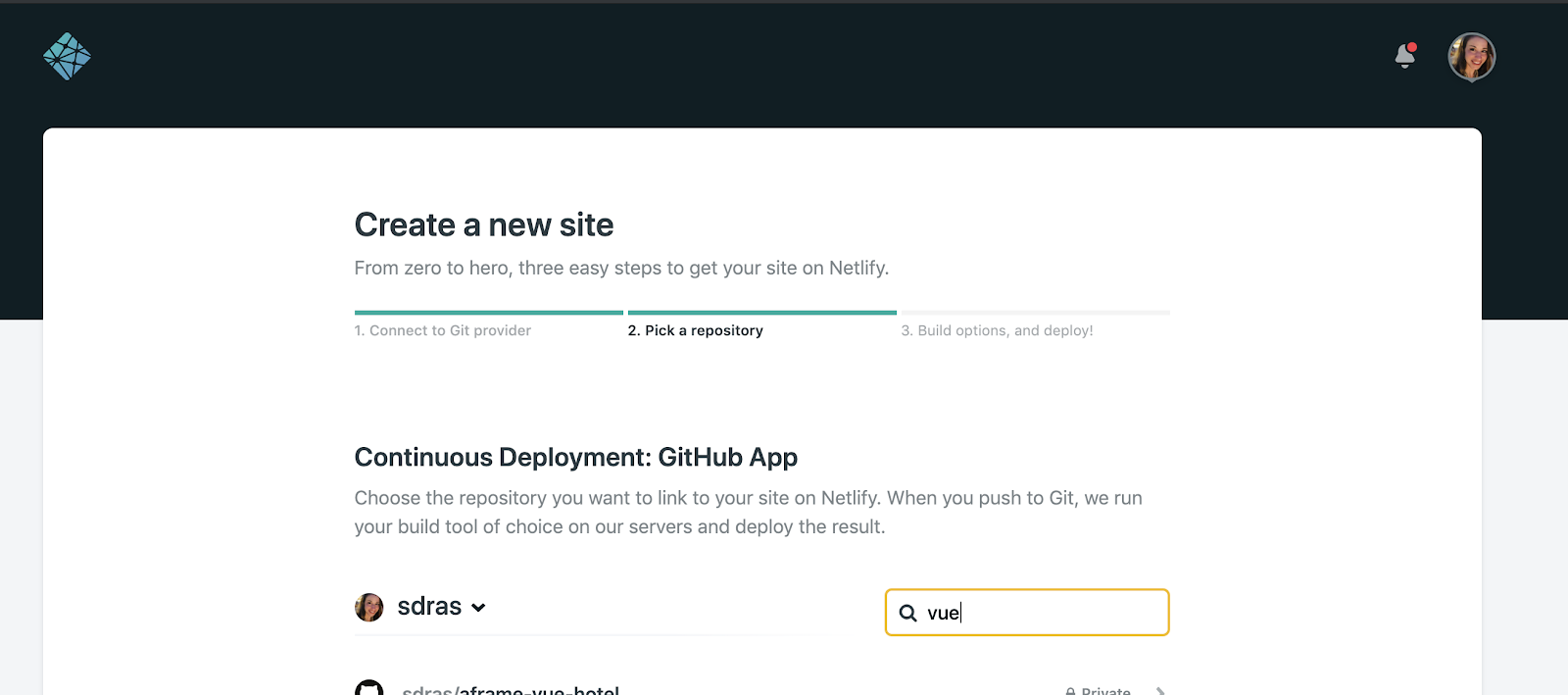 New site from git view in the Netlify Dashboard