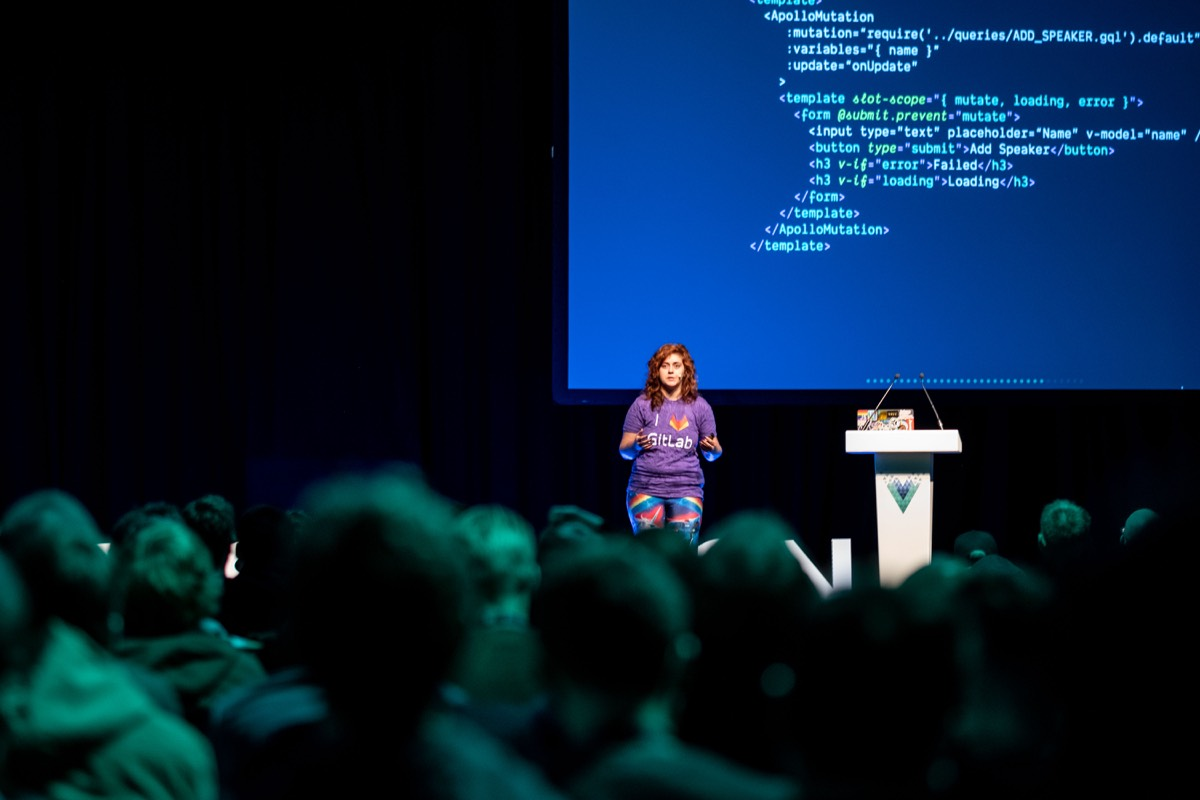 Sara Vieira speaking at Vue London