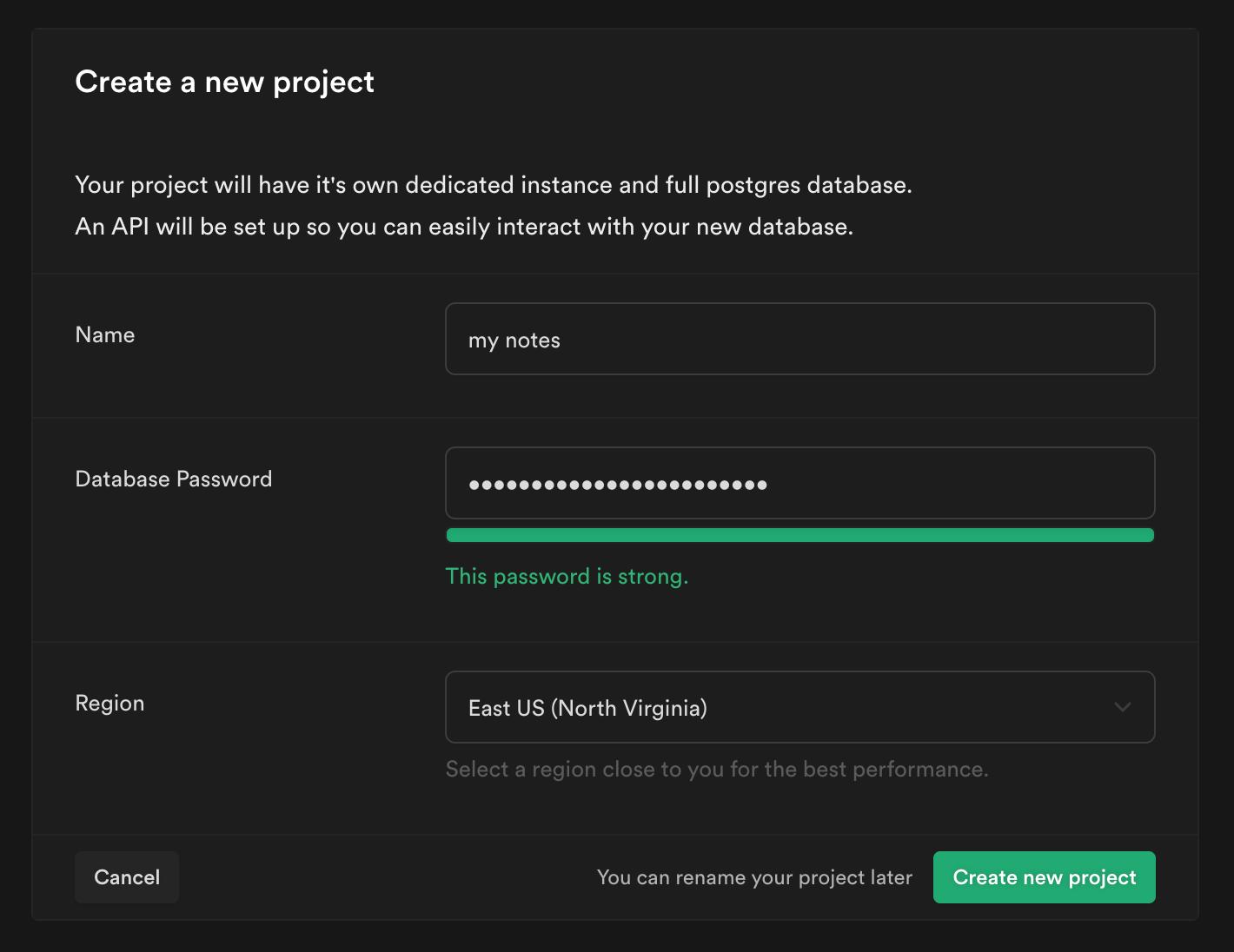 Screenshot of Supabase New project options screen