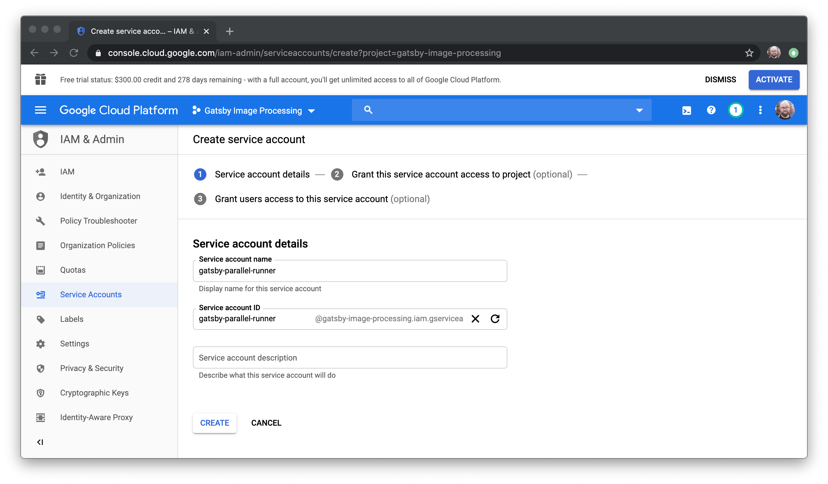 The create service account page in Google Cloud.
