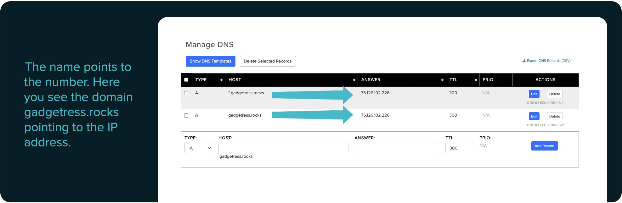 DNS management A records example
