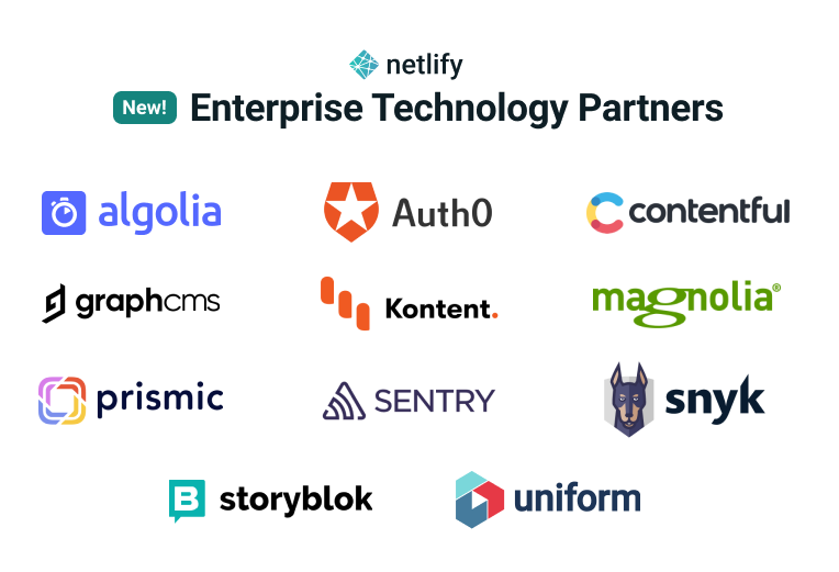 Netlify Technology partners directory logos of main partners