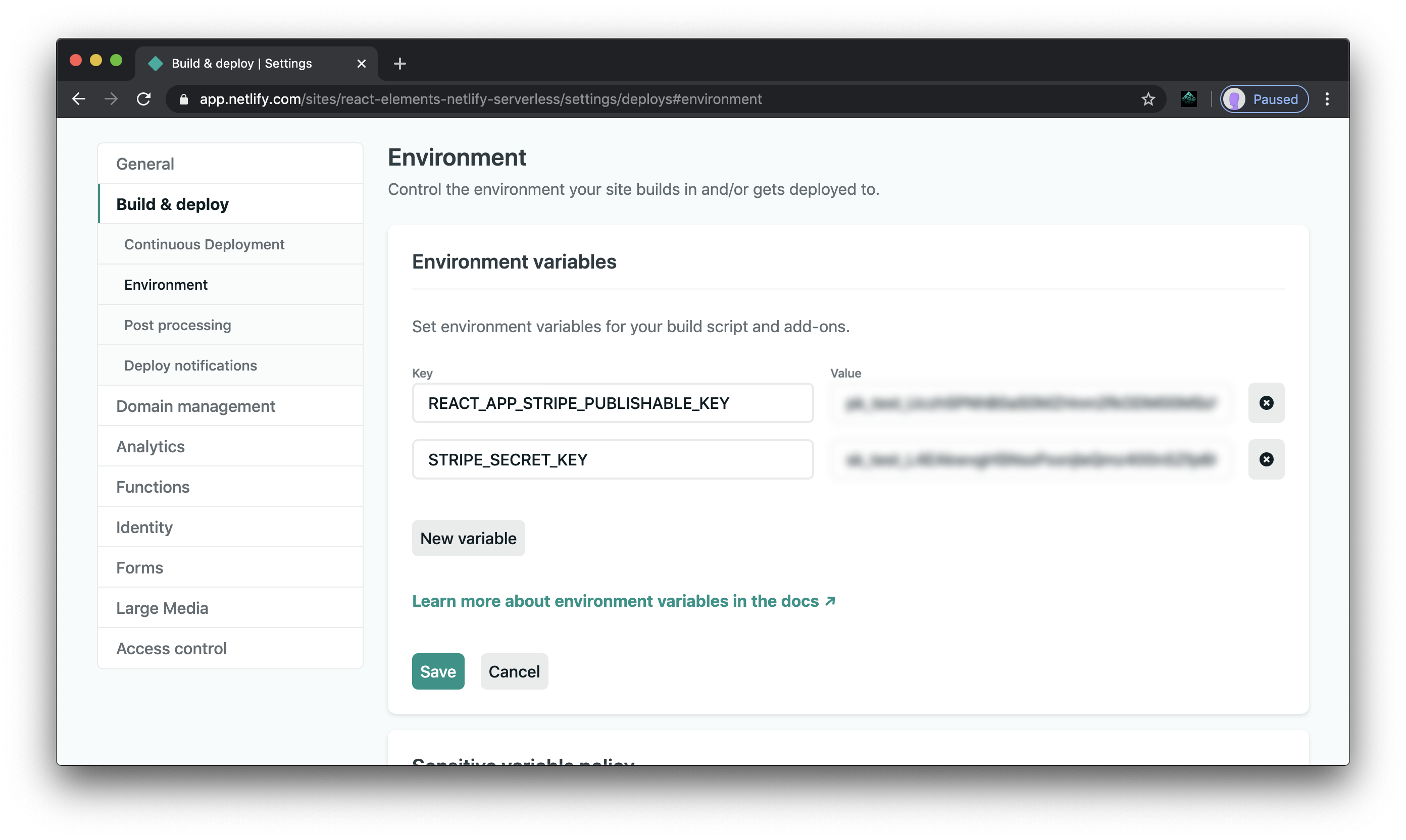 The environment variables section of your Netlify dashboard