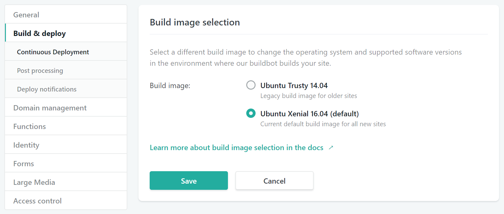 Build image selection settings UI at Settings > Build & deploy > Continuous deployment