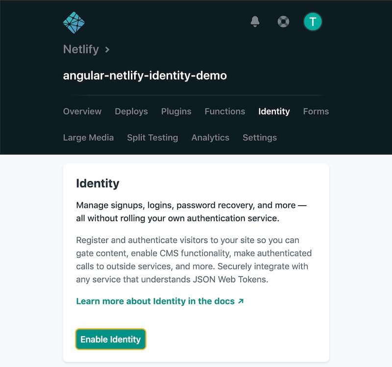 the Netlify Identity dashboard