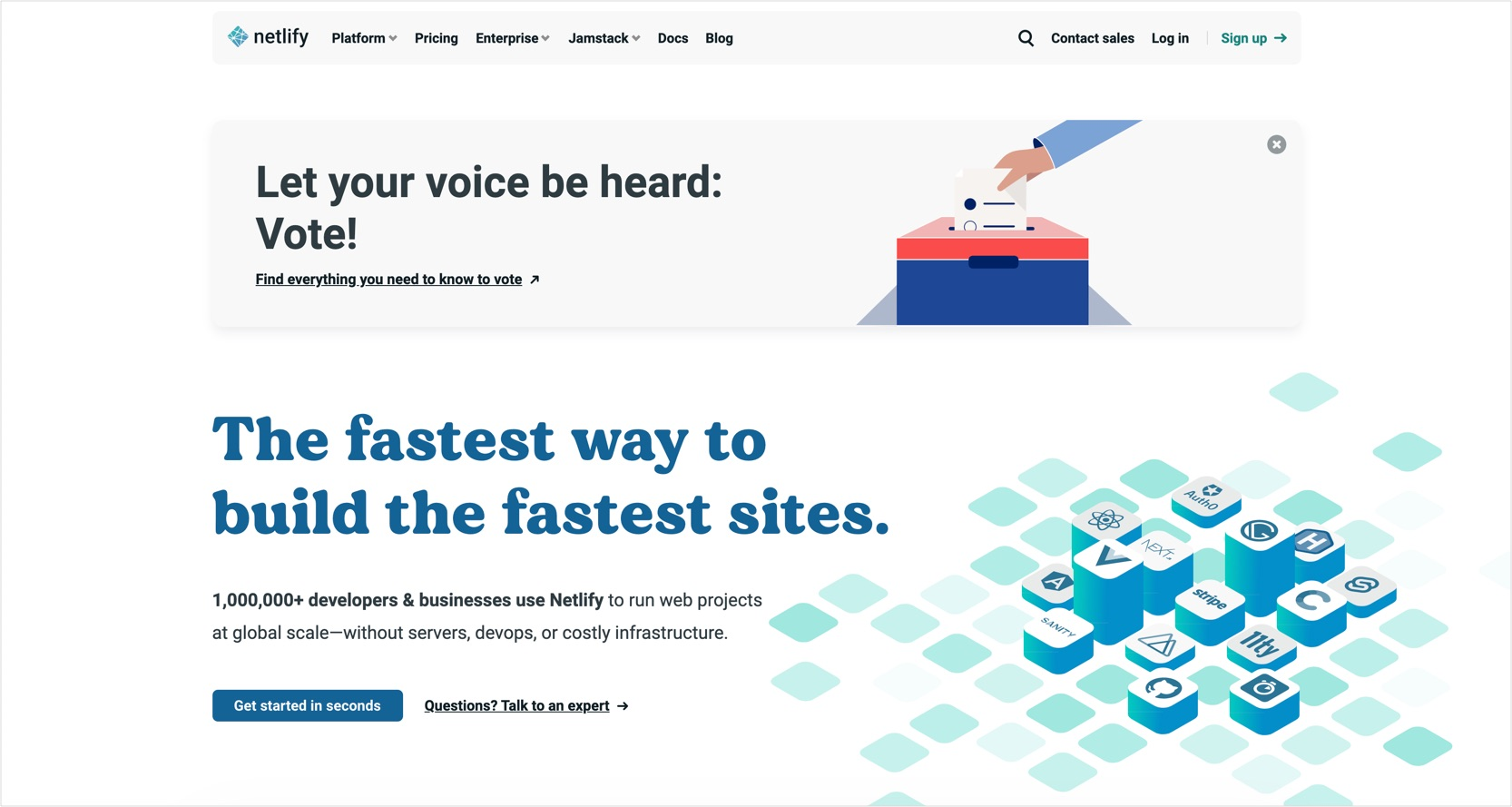 Screenshot of Netlify's US homepage with Election banner
