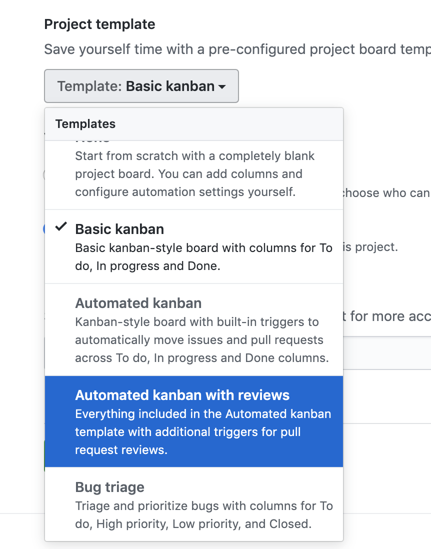 Showing a dropdown with an automated kanban board from GitHub