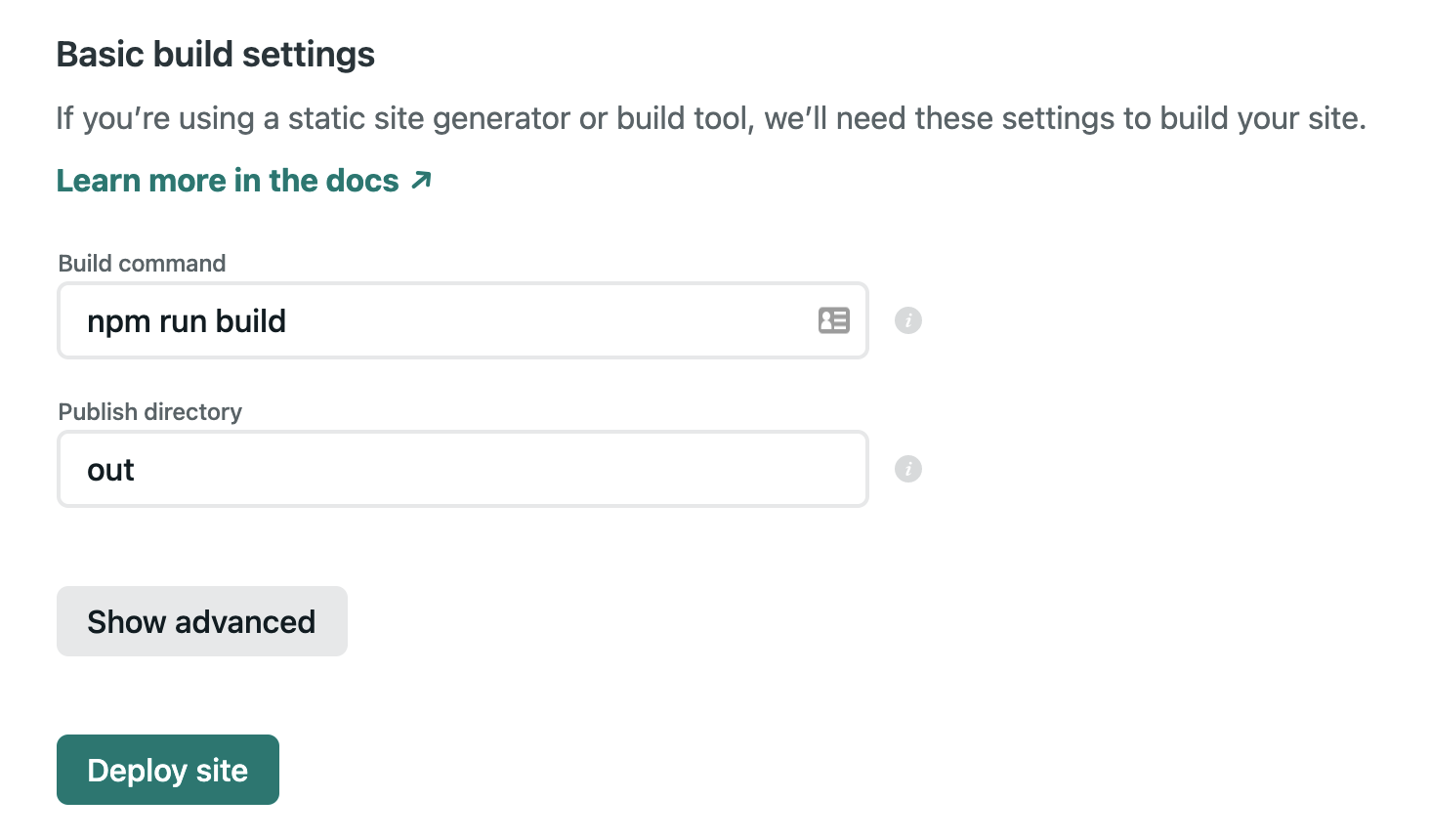 Basic build settings on Netlify, with command npm run build and directory out
