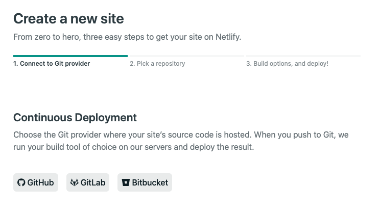 netlify app new site git provider connection screen