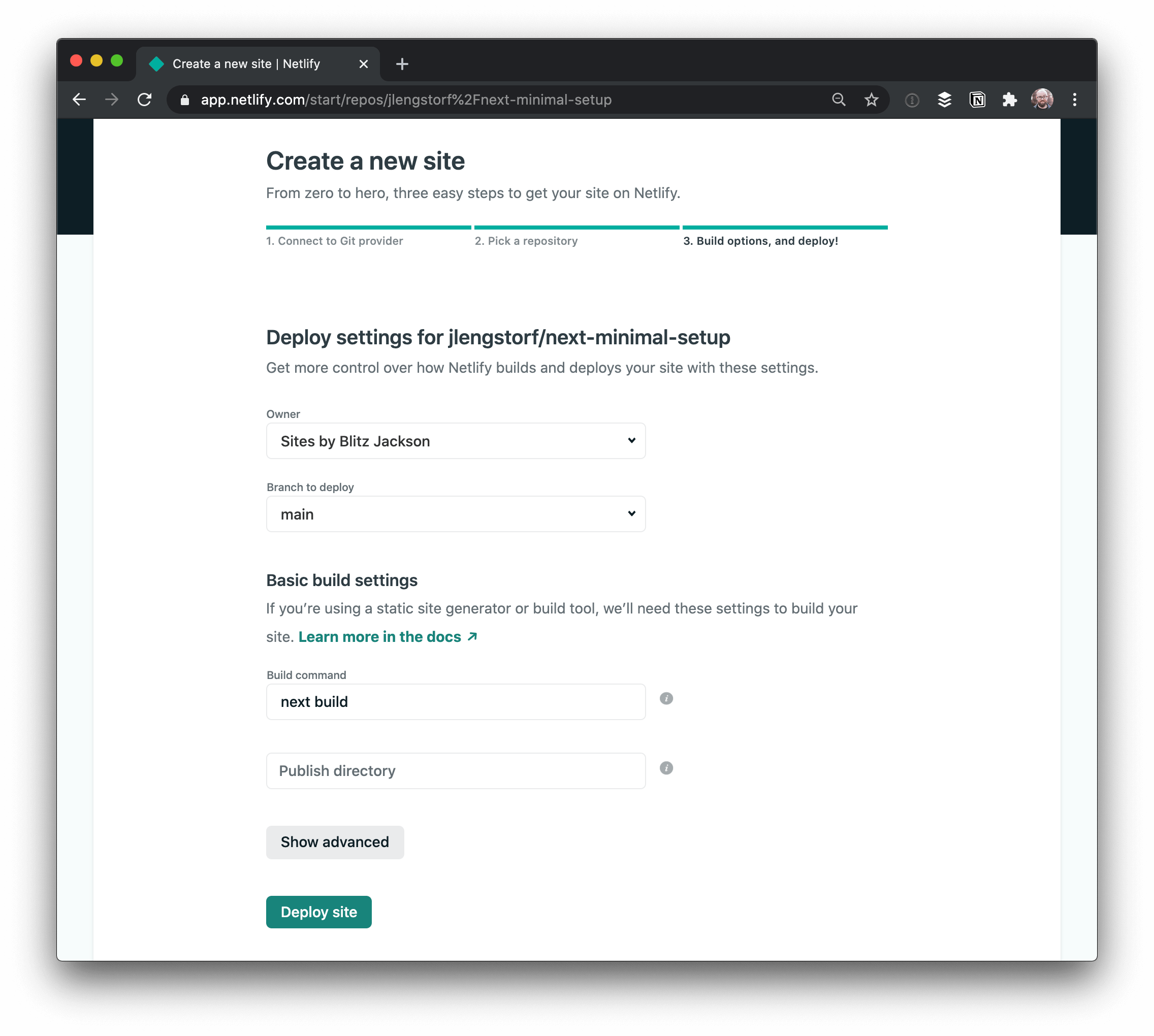Screenshot of step 3 deploying a Next.js site to Netlify using the Netlify app