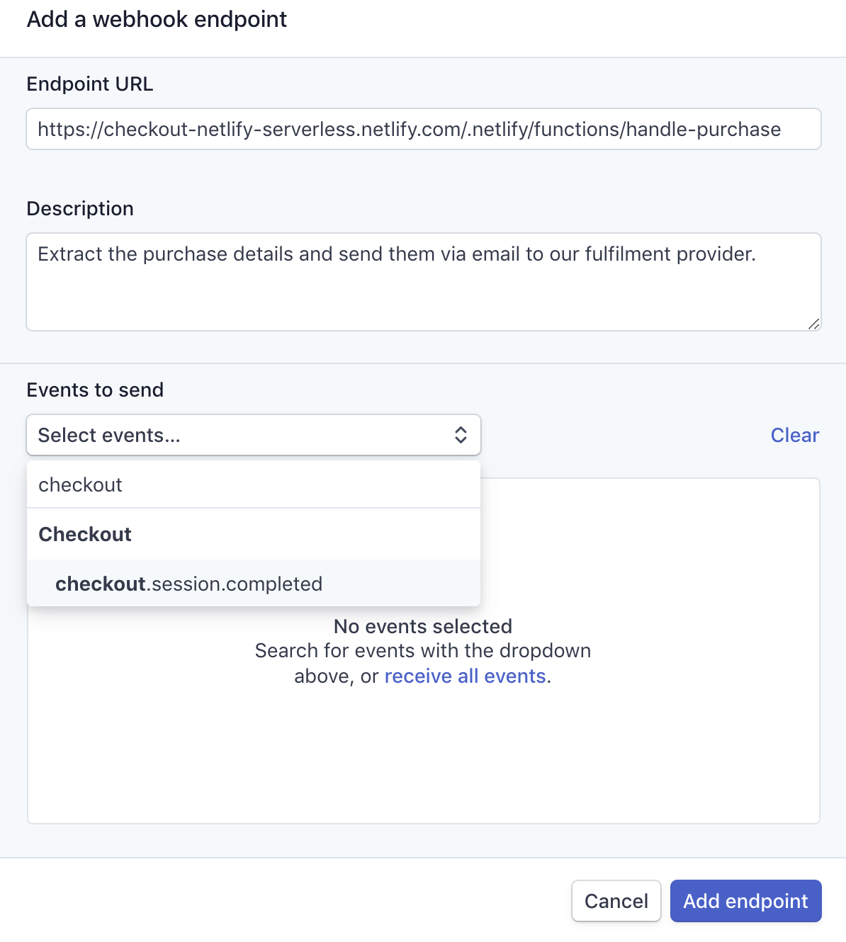 Add webhook endpoint screenshot