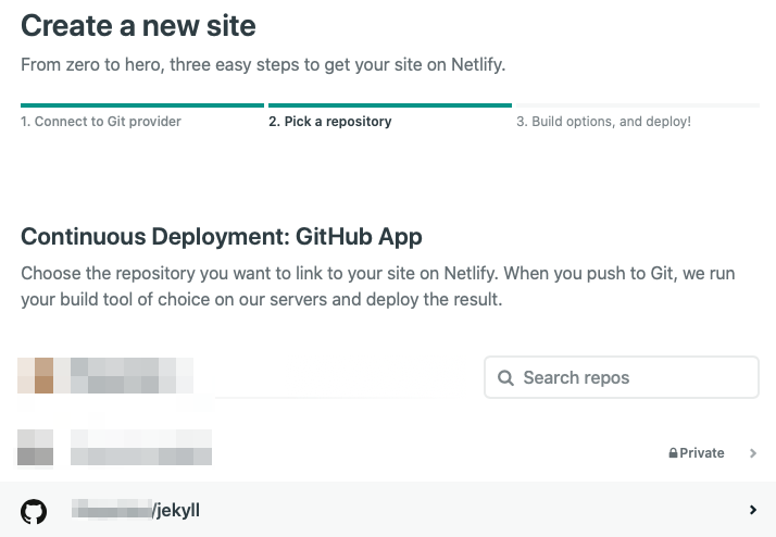 netlify app repository connection screen