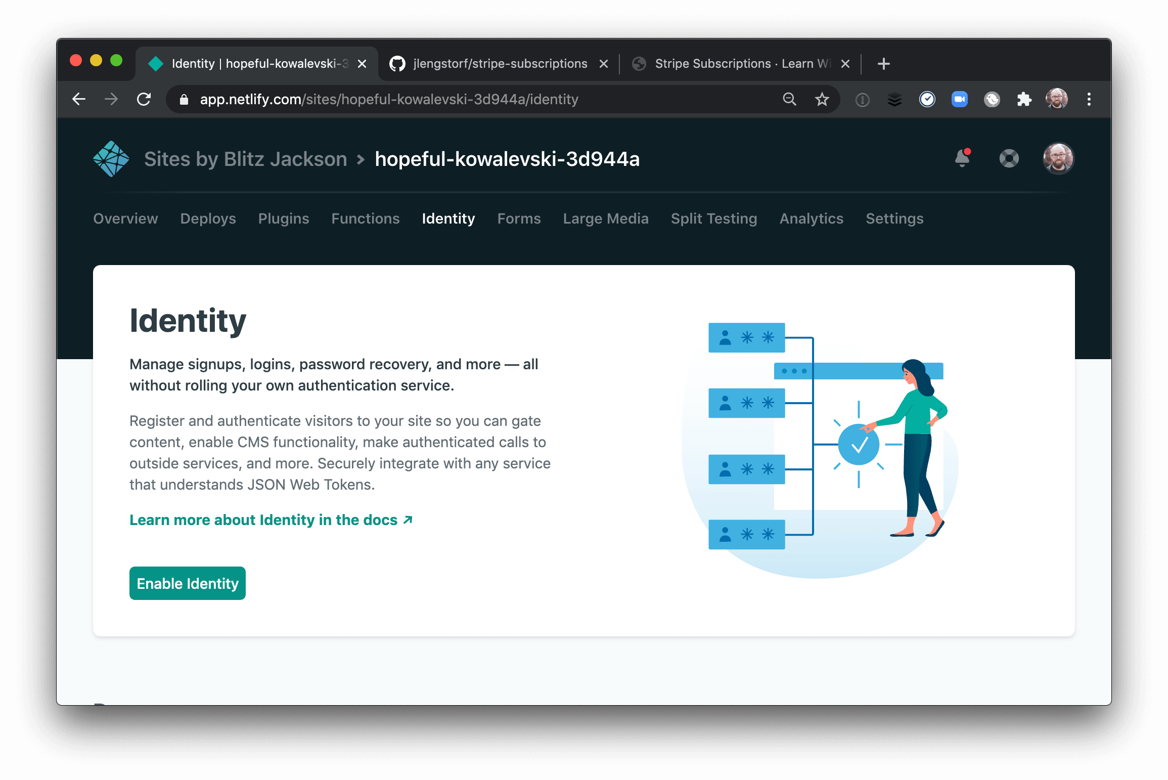 The UI to enable Netlify Identity in the Netlify dashboard.