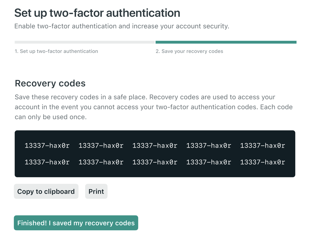 Recovery codes page