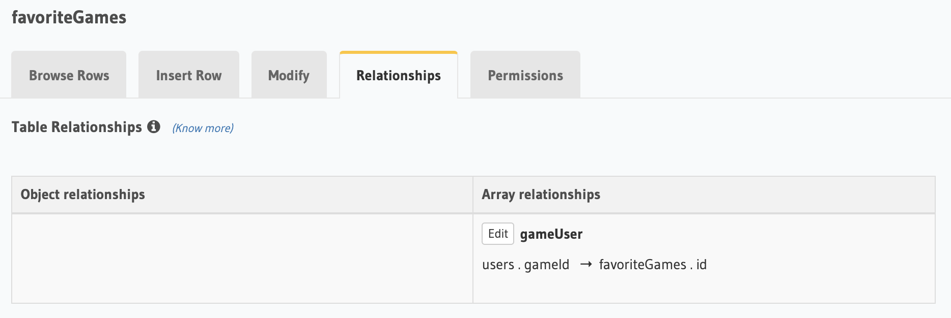 Screenshot of Hasura SQL gameUser array relationships