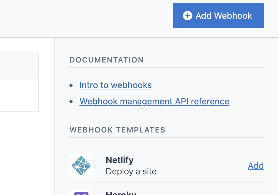 Contentful adding a webhook