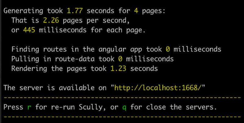 screenshot of output from running scully