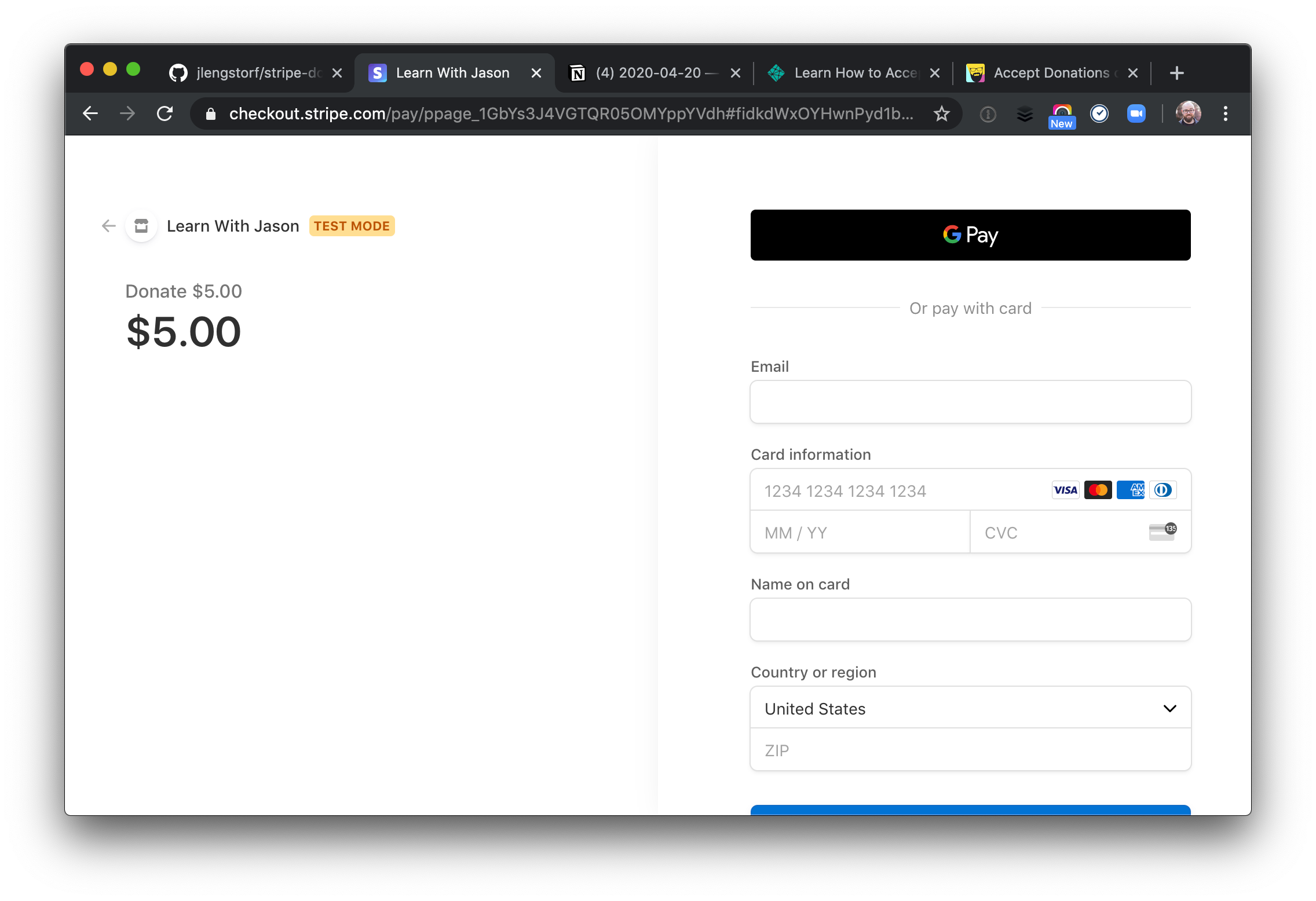 Stripe Donation Page