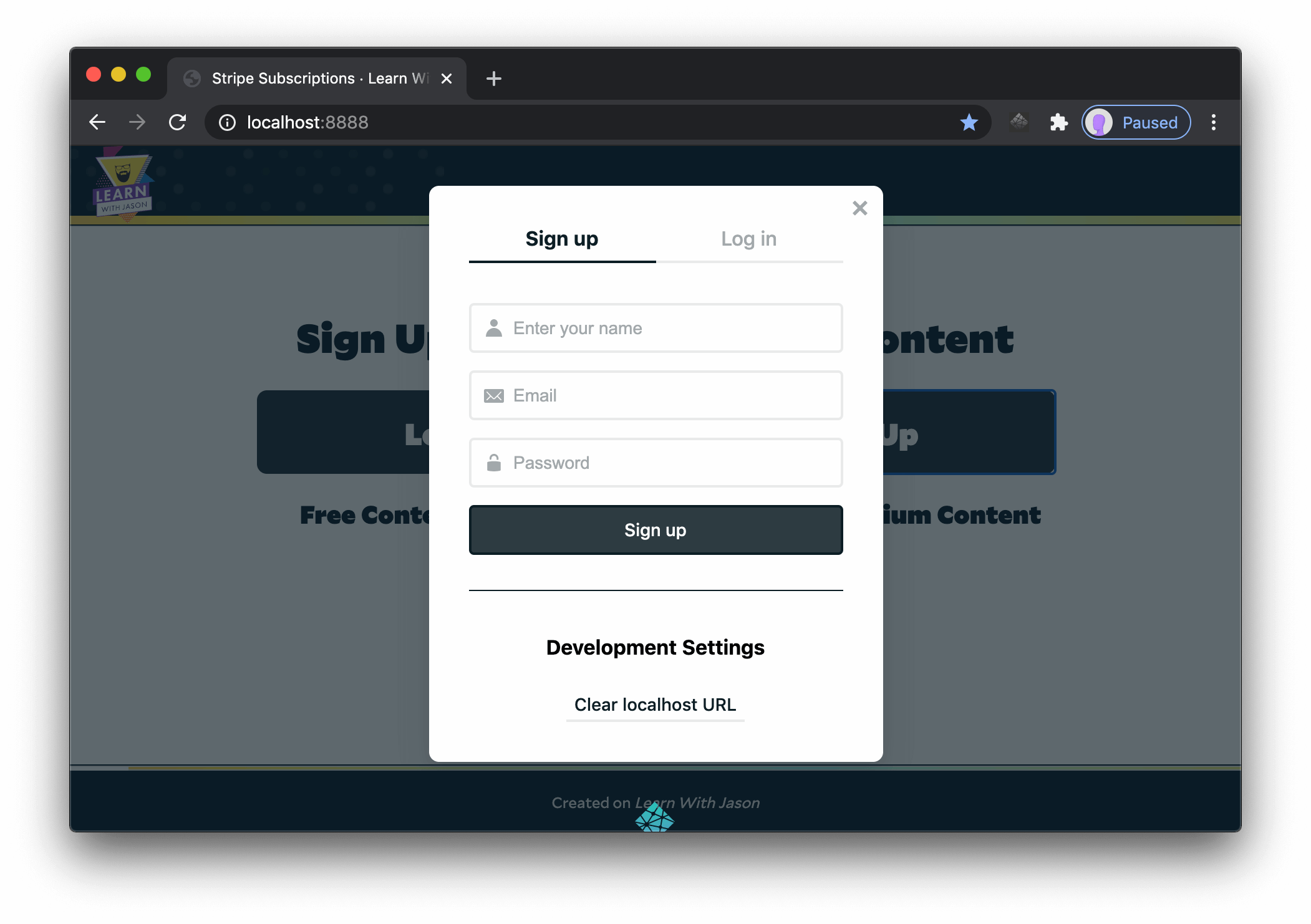 Sign up view in the Netlify Identity widget.