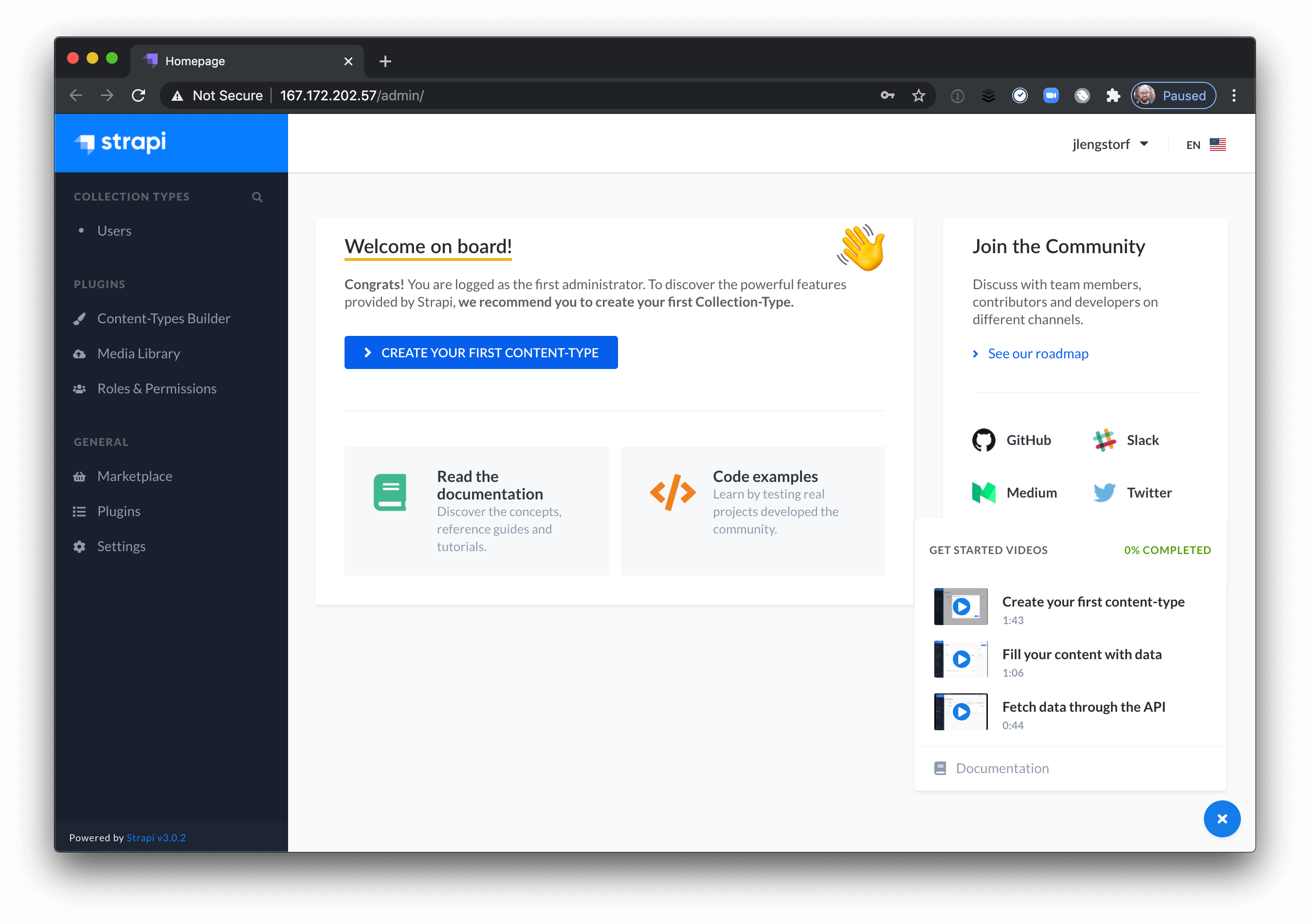 The empty state of the Strapi dashboard.