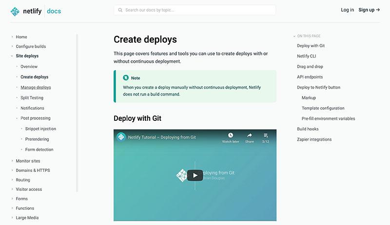 Screenshot of Docs Deploys page