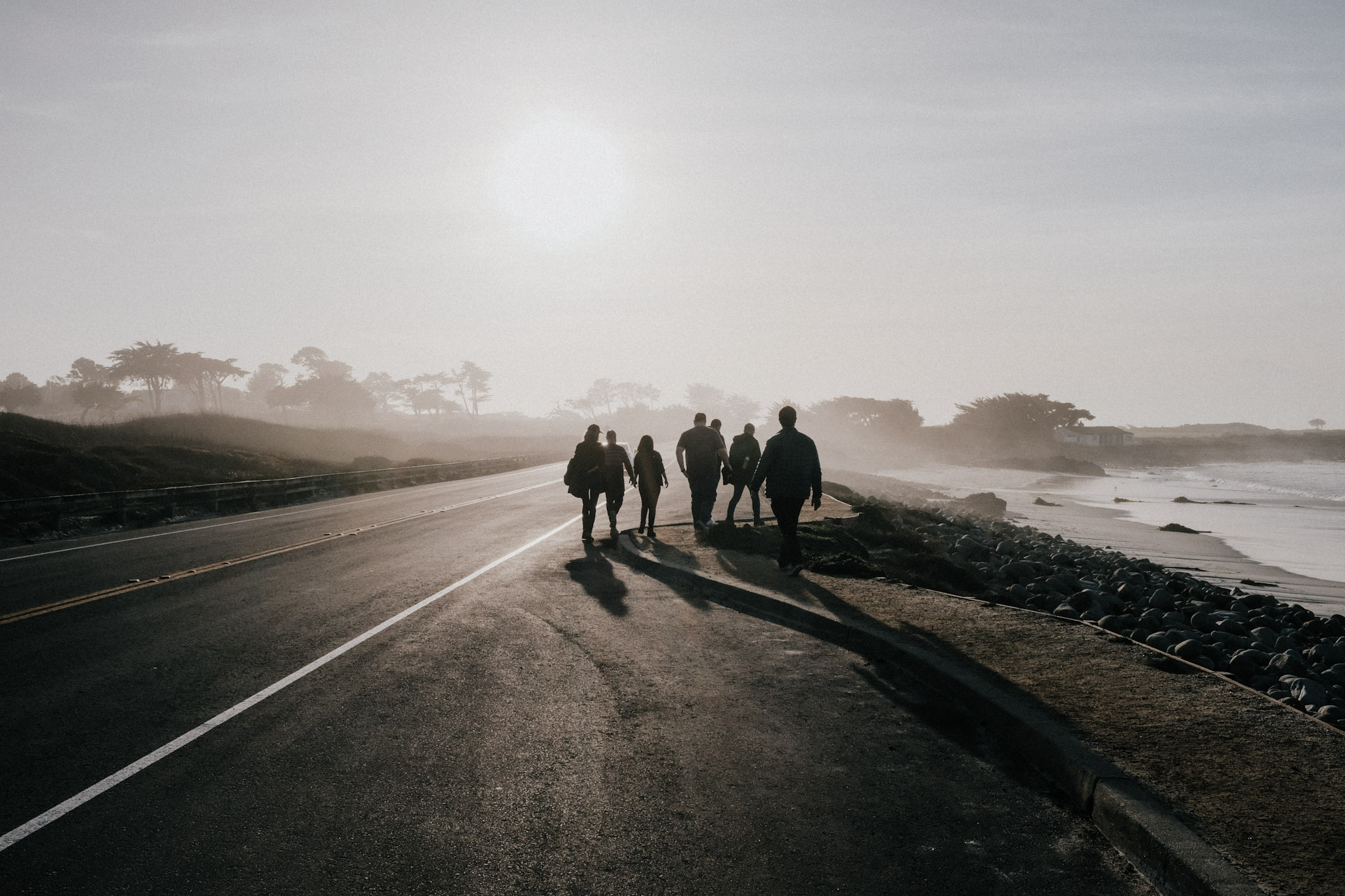 a group of people walking away from the camera on a seafront road