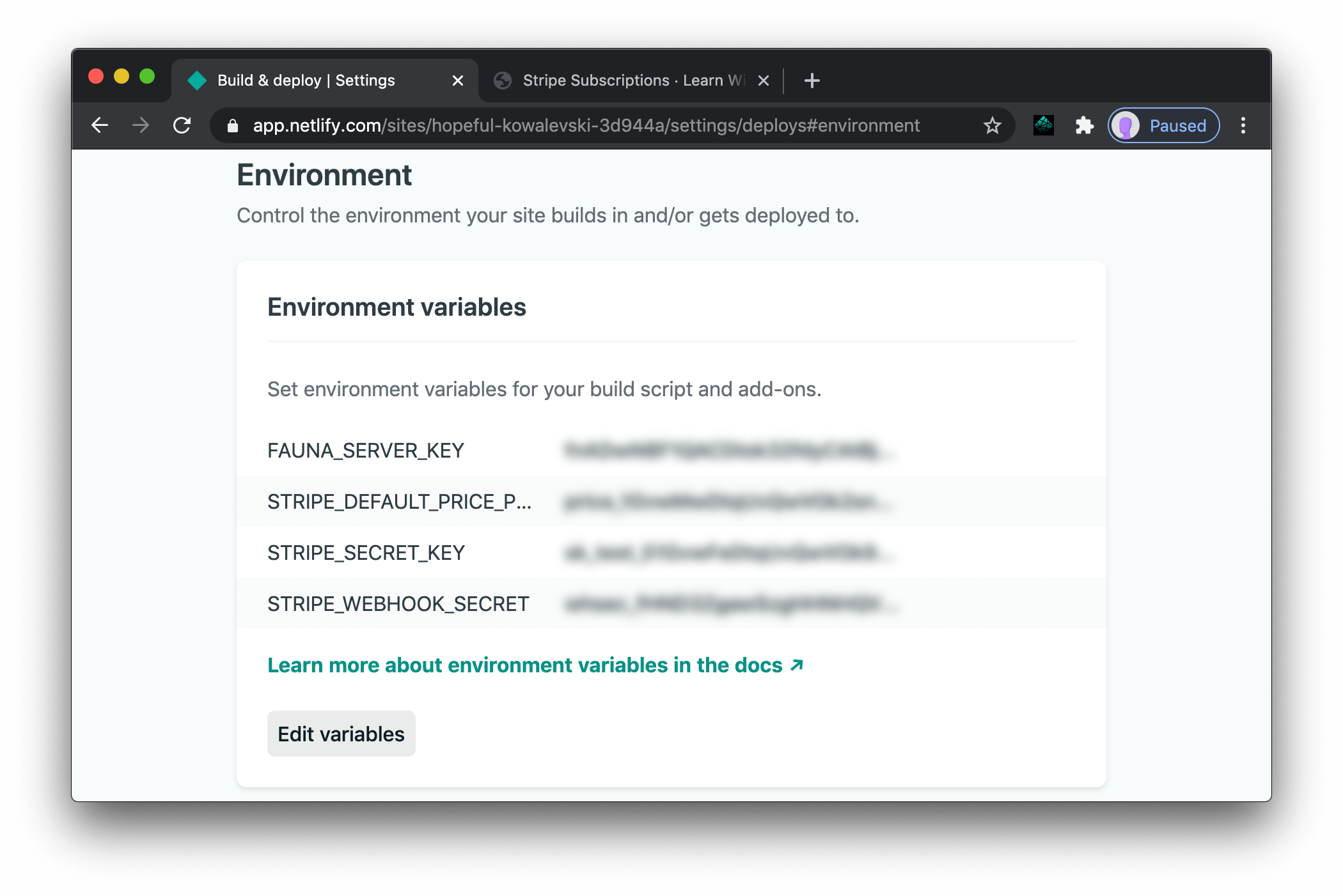 Netlify environment variables in the dashboard, including the Stripe webhook secret.
