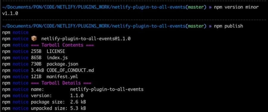 output of the publish commands