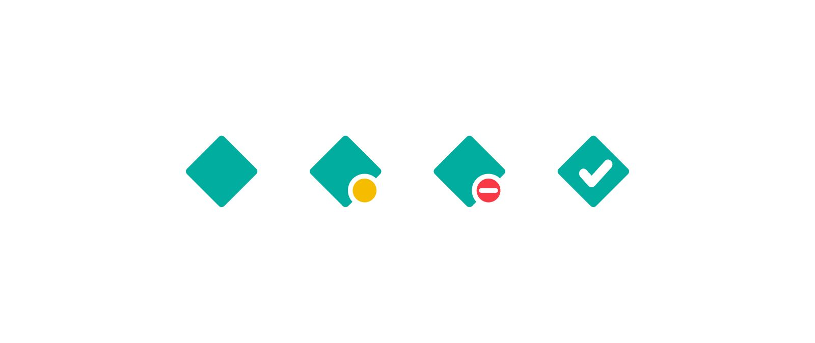 4 versions of the favicon: 1. A simplified version of the Netlify logo – a teal square rotated 45 degrees. 2. Simplified logo with a yellow circle. 3. Simplified logo with a red circle with a white line through it. 4. Simplified logo with a checkmark.
