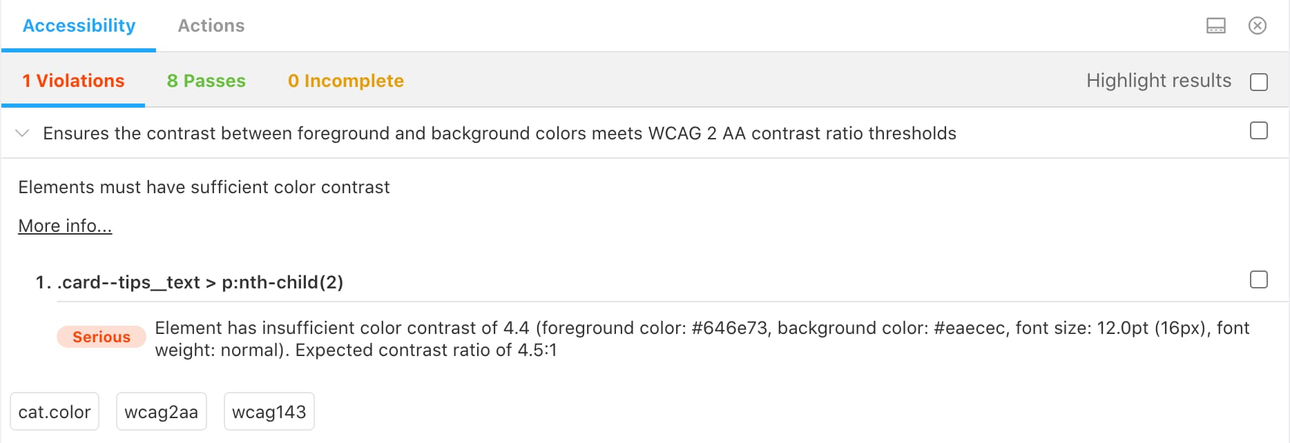 Example of color contrast violation using the Storybook a11y addon
