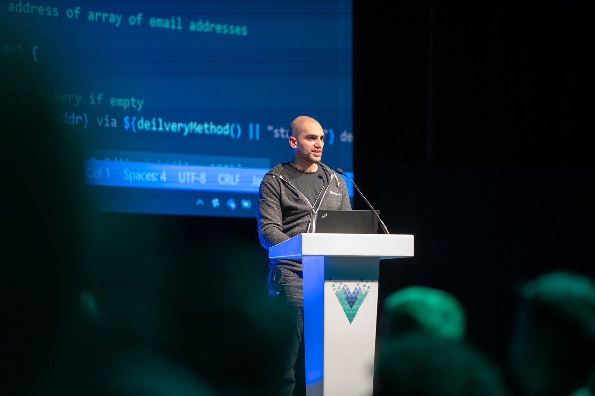 Daniel Rosenwasser speaking at Vue London
