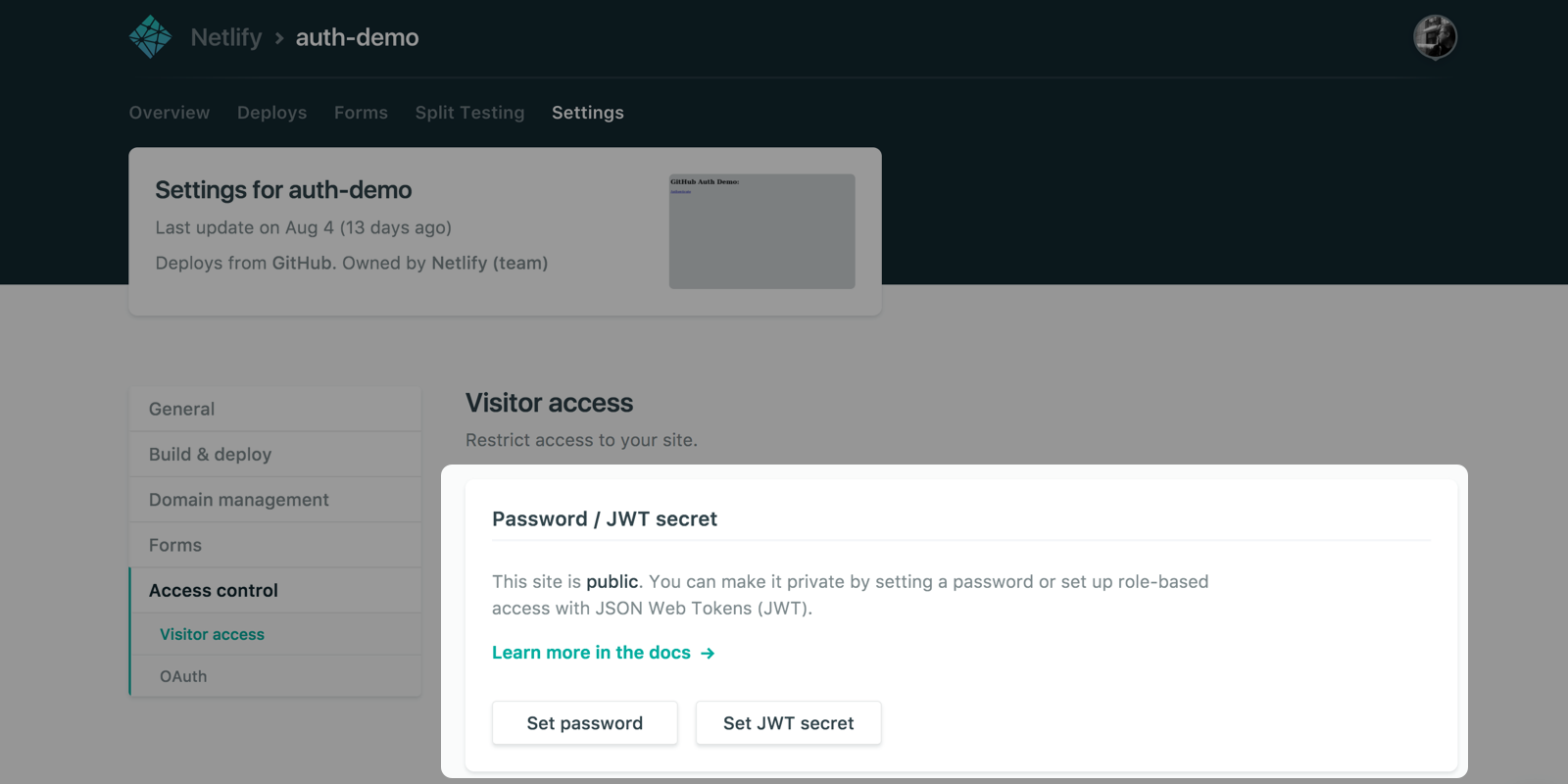 Visitor access control | Netlify