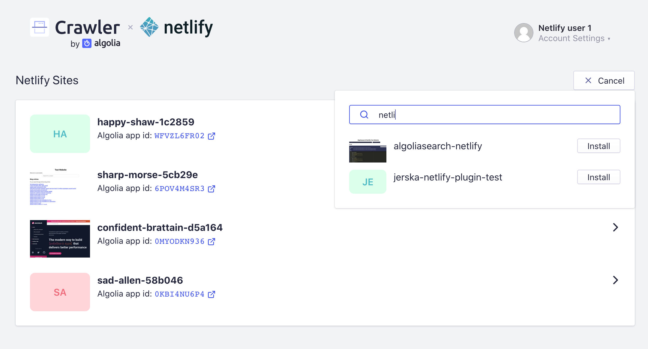 Screenshot of Plugin Configuration for Netlify Sites