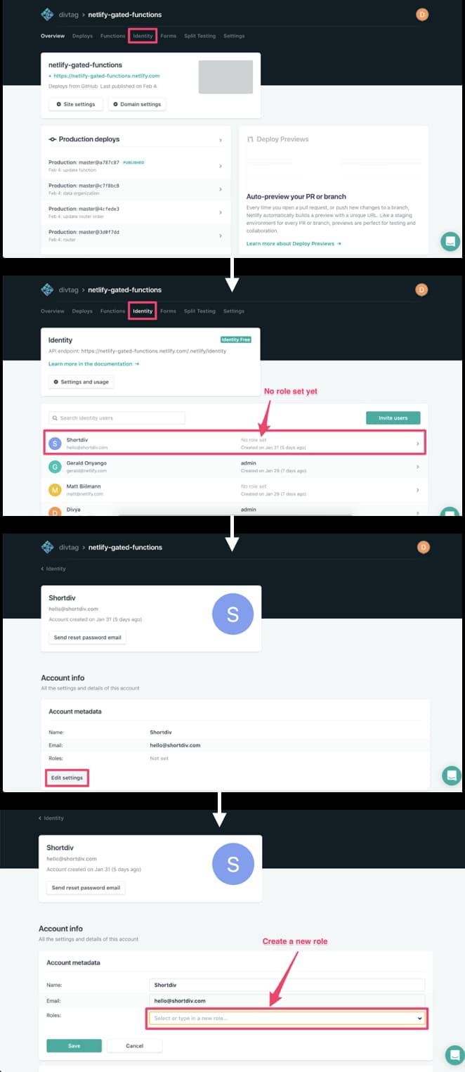 Workflow of setting a user role through the Netlify UI