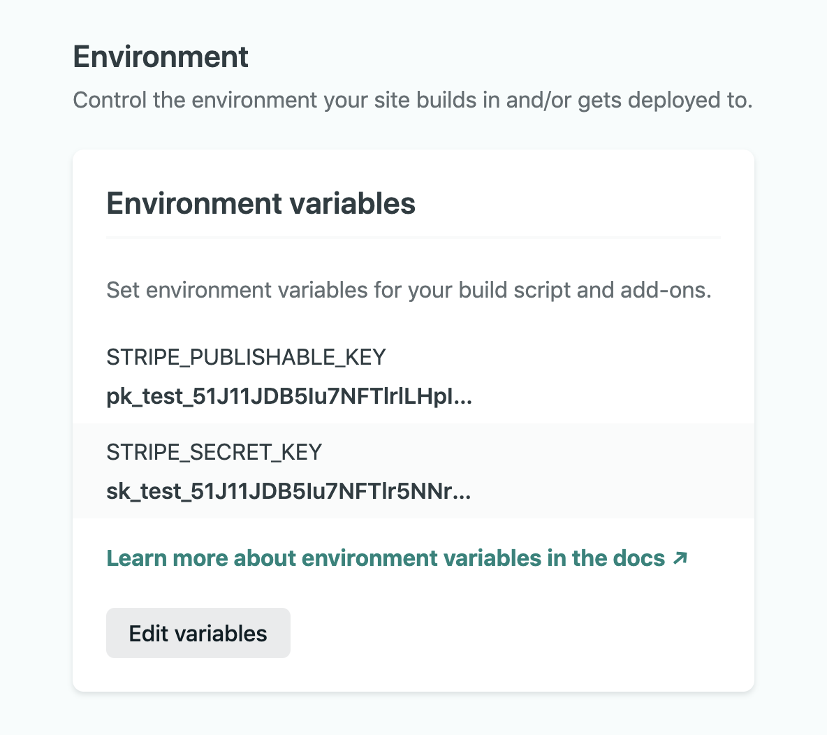 stripe environment variables in netlify dashboard