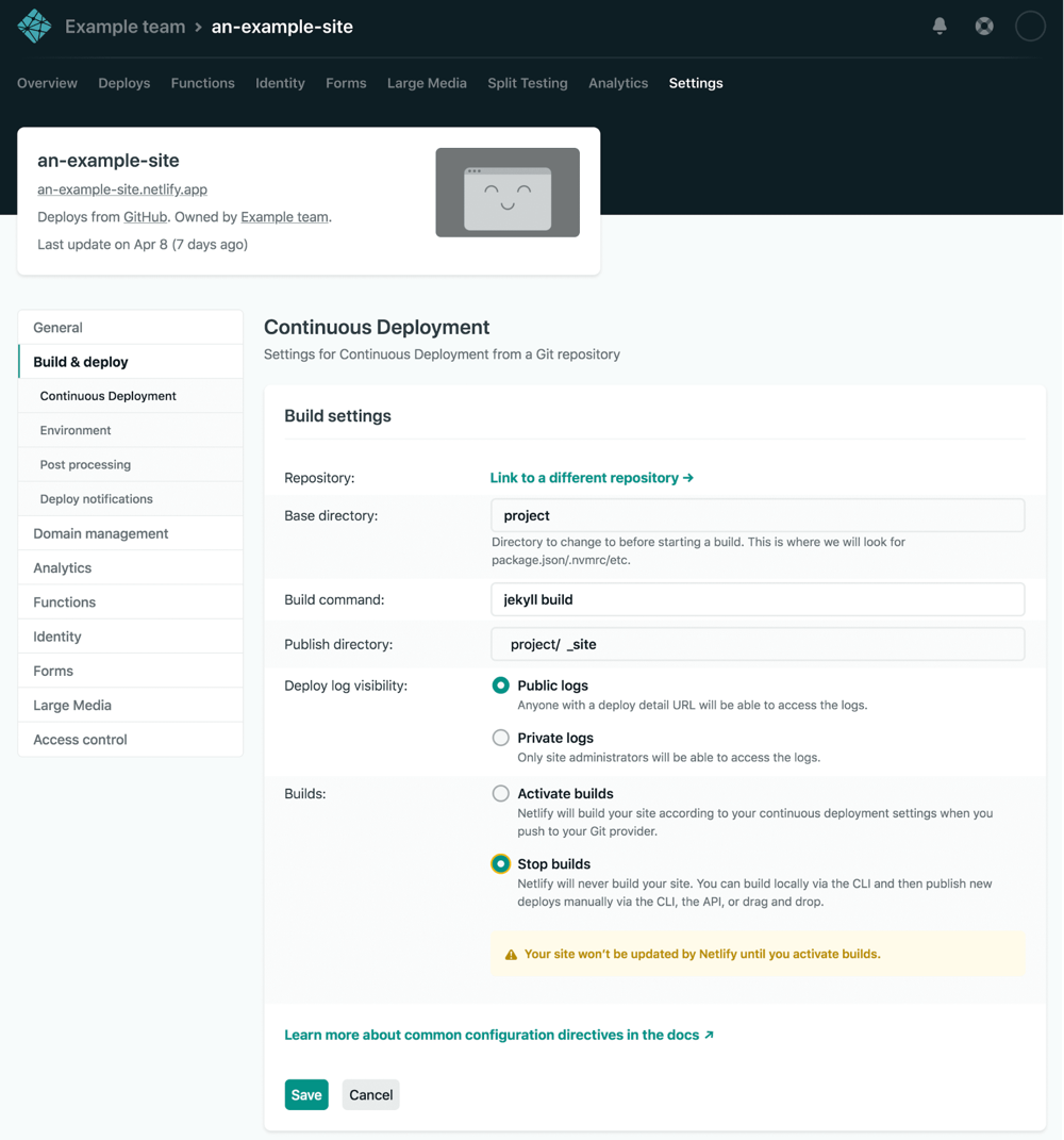 Screenshot: Configuring pausing builds