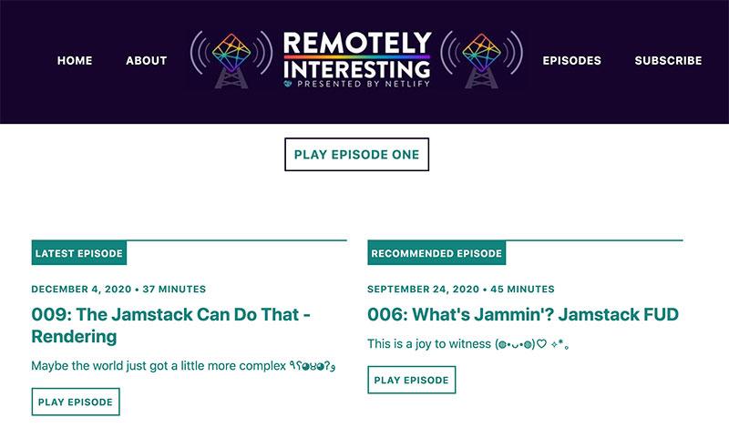 Screenshot of Remotely Interesting site