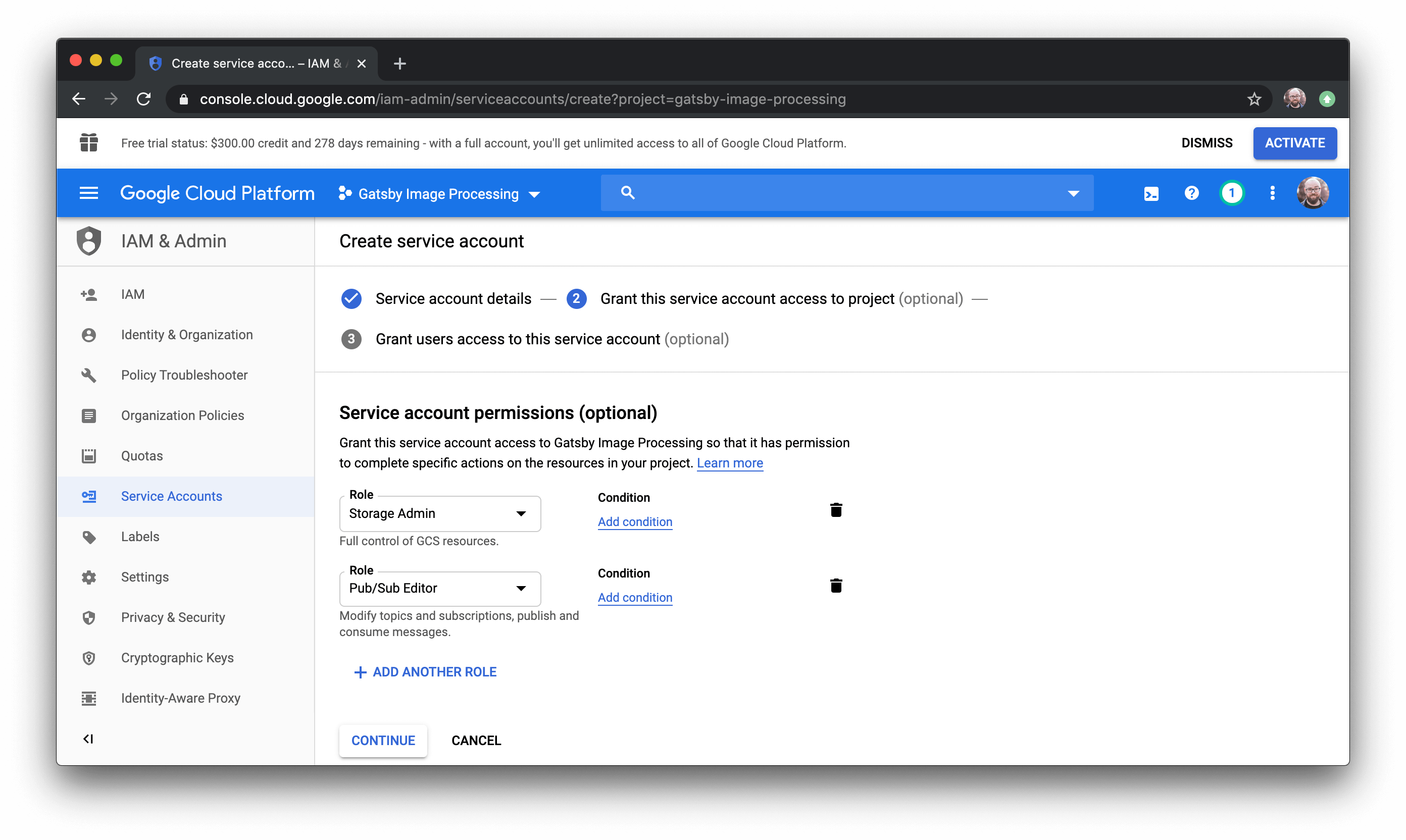 Workflow for setting service account permissions in Google Cloud.