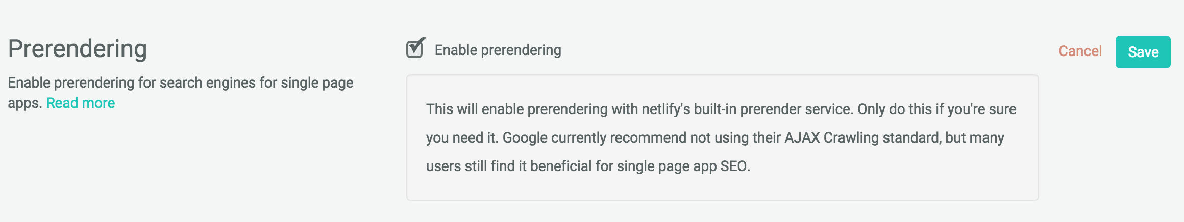 Enabling netlify's built-in prerendering