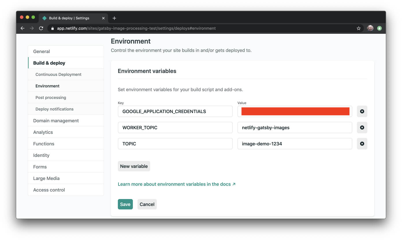 Environment variables settings page in Netlify with requried env vars set.