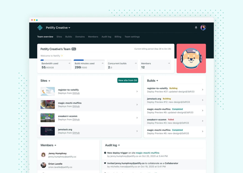 Netlify Team Overview app screenshot