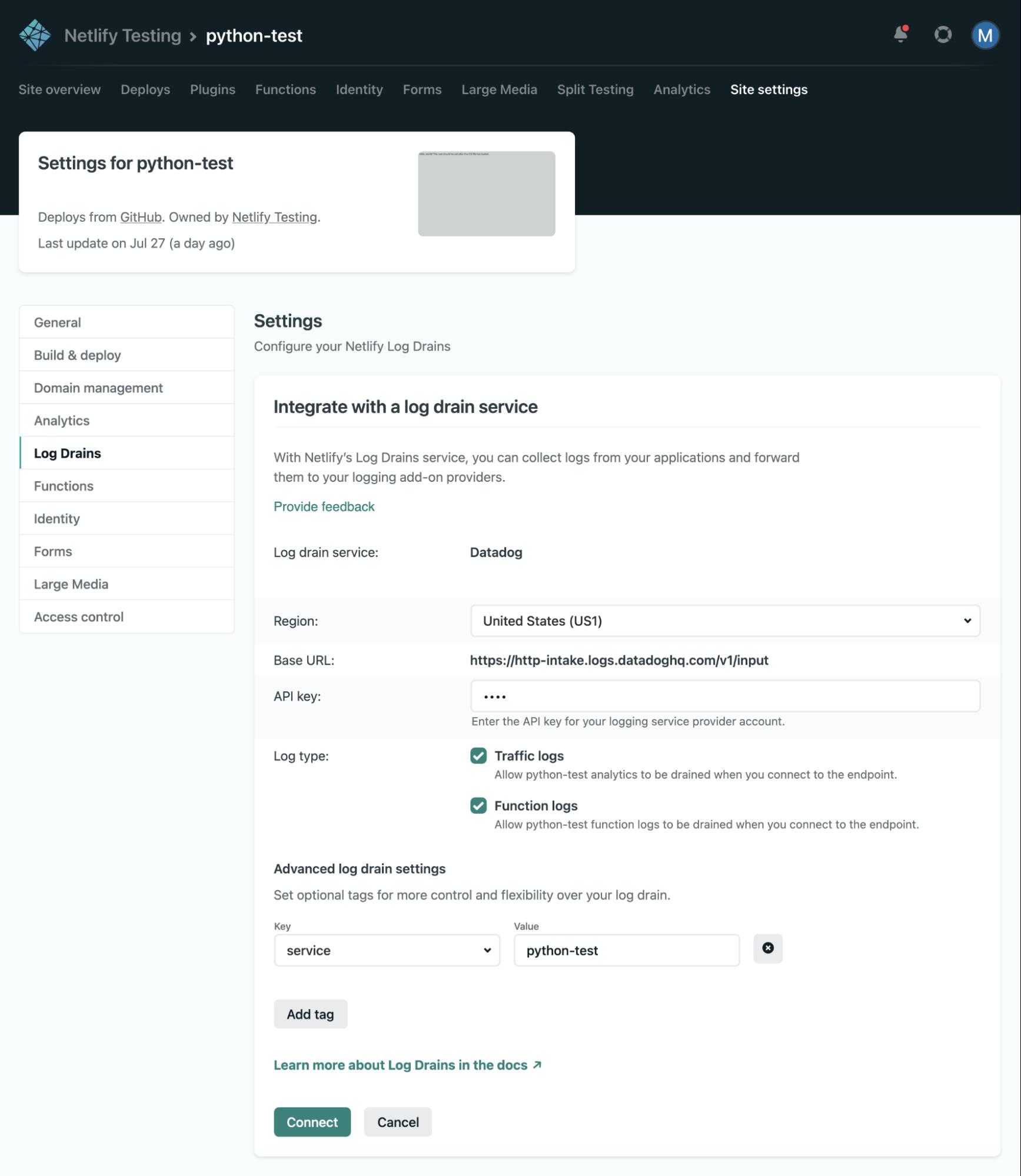 Datadog Netlify log drain UI image